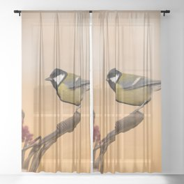 Songbird (Great Tit) on Autumn Day #decor #society6 #buyart Sheer Curtain