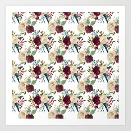 Burgundy ivory green watercolor boho floral pattern Art Print