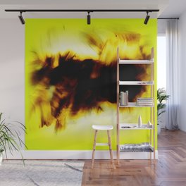 Hole In My Heart Black White Yellow Abstract Wall Mural