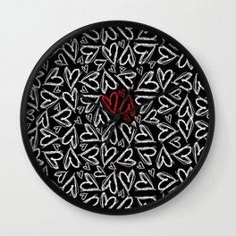 Hearts drawn with chalk Wall Clock