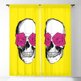 Skull and Roses | Skull and Flowers | Vintage Skull | Yellow and Pink | Blackout Curtain
