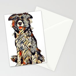 Border Collie dog sitting looking at camera isolated on a white background        - Image Stationery Cards