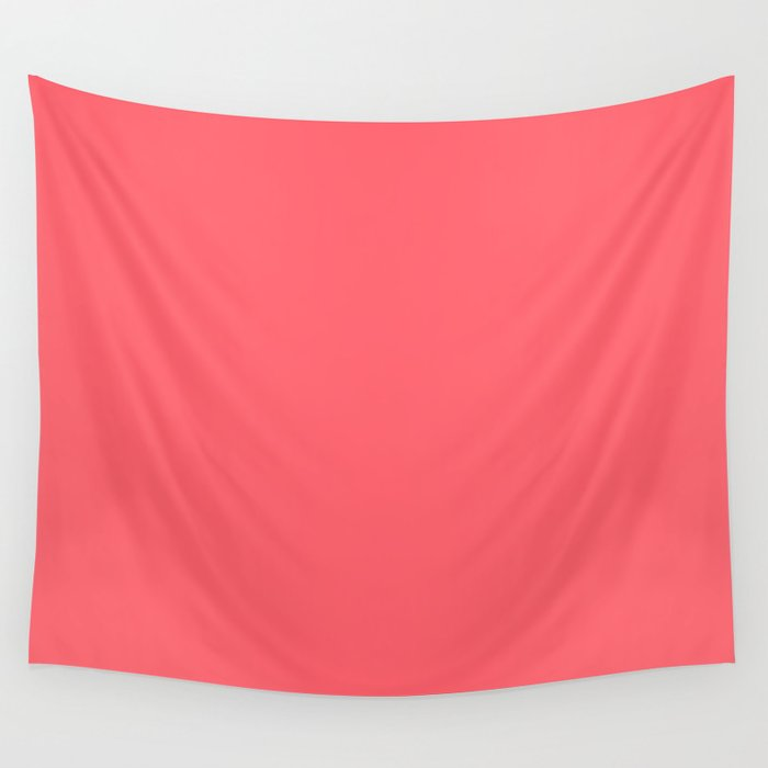 Coral Red Solid Color Block Wall Tapestry