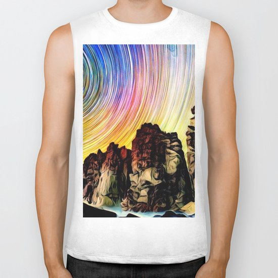 Epic Sunset Aurora Lights with Mountains and River Biker Tank