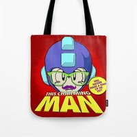 the smiths Tote Bags featuring 8-bit Smiths - This Charming Mega Man by Butcher Billy