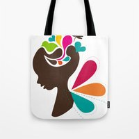 child Tote Bags featuring Child by Irmak Akcadogan