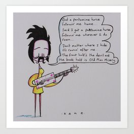Polly Inchwary Plays the Blues, with Guitar and Moustache.  Art Print