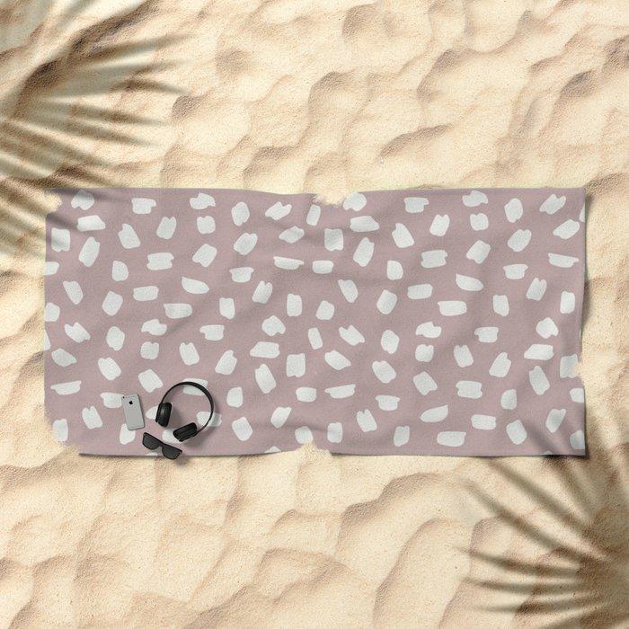 Simply Ink Splotch Lunar Gray on Clay Pink Beach Towel