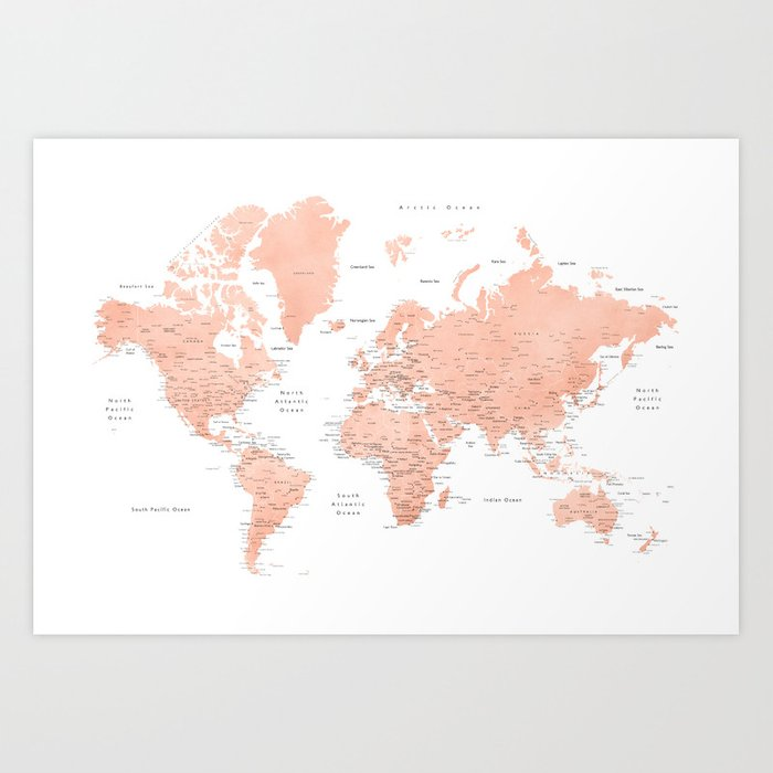Rose gold world map with cities, \