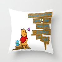 winnie the pooh Throw Pillows featuring Winnie The Pooh by LaLunaBee