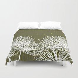 Olive Doodle Floral by Friztin Duvet Cover