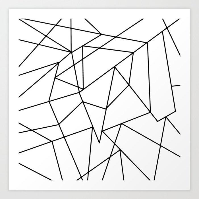 Simple Modern Black and White Geometric Pattern Art Print by blackstrawberry