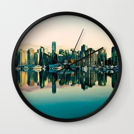 Vancouver Coal Harbor Sunset Cityscape  Wall Clock