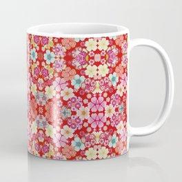 Crimson Floral Chirimen Coffee Mug