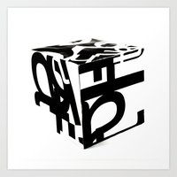 Helvetica Cube Faces Art Print