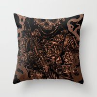 military Throw Pillows featuring Military skull by barmalisiRTB