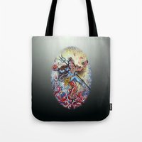 shiva Tote Bags featuring Shiva Shakti by Harsh Malik