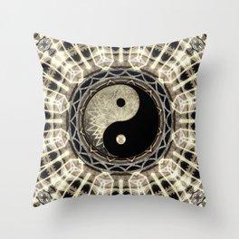 Yin Yang Geometry Mandala V1 Throw Pillow