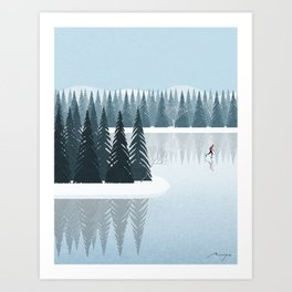 Ice skating on the lake Art Print