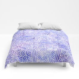 Lavender and white swirls doodles Comforters