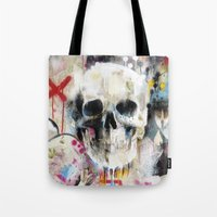 skull Tote Bags featuring Skull by FAMOUS WHEN DEAD