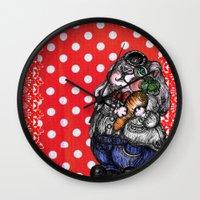 rabbit Wall Clocks featuring Rabbit by AKIKO