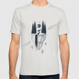Creative Illustration In Geometric Style. Nature, Deer, Forest And River T-shirt