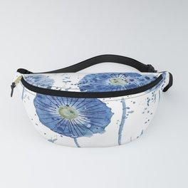 four blue dandelions watercolor Fanny Pack