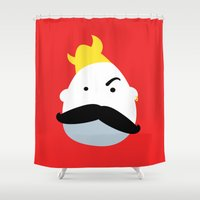 moustache Shower Curtains featuring Moustache Viking by andy fielding