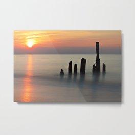 Groyne and sunset on the Baltic Sea coast Metal Print