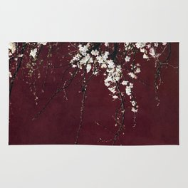 blossoms on ruby red Rug