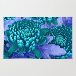 Blue chrysanthemum Rug