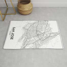 Minimal City Maps - Map Of San Jose, California, United States Rug