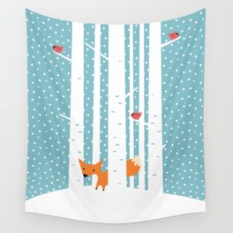 Fox in snow Wall Tapestry