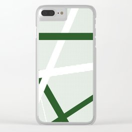 Green Criss Cross Halftone Clear iPhone Case