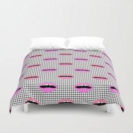 Lips - hot pink lips with grid modern abstract minimal pop art hipster urban brooklyn nashville Duvet Cover