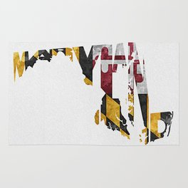 Maryland Typographic Flag Map Art Rug