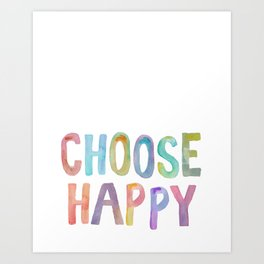 """Inspirational Quote """"Choose Happy"""" Watercolor Letters Typography Nursery Print Motivational Quote Art Print"""