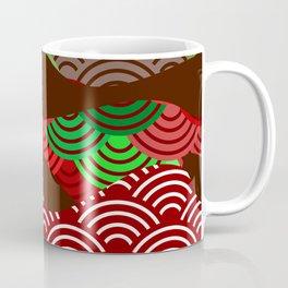 scales simple Nature background with japanese wave circle pattern dark brown burgundy maroon green Coffee Mug