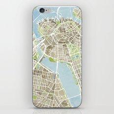 Boston Sepia Watercolor Map iPhone & iPod Skin
