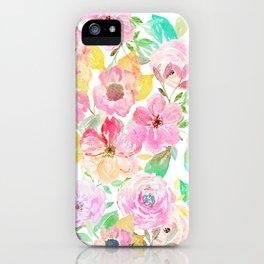 Classy watercolor hand paint floral design iPhone Case