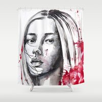 asia Shower Curtains featuring asia by Lua Fraga