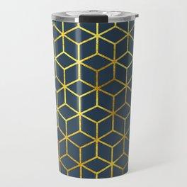 Blue & Gold Squares Travel Mug