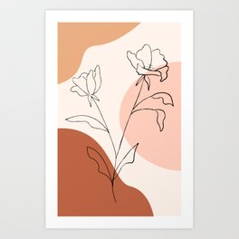 Poppies line drawing Art Print