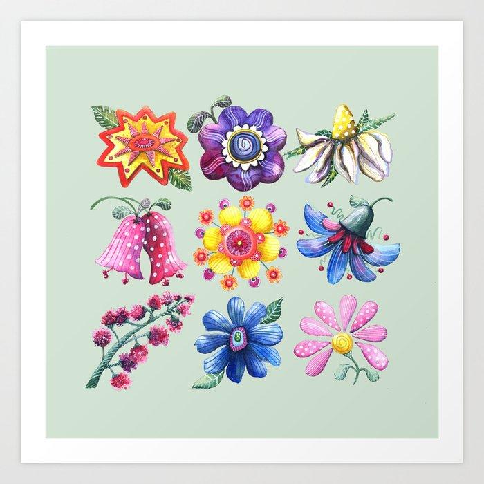 Pretty Flowers All in a Row Green Art Print