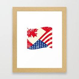 Canadian American Flag Canada America Vintage Gift Framed Art Print