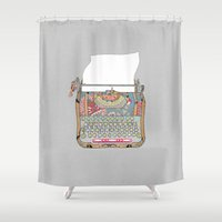 letter Shower Curtains featuring I DON'T KNOW WHAT TO WRITE YOU by Bianca Green