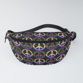 Rainbow Glitter Peace Sign   Symbol Pattern Fanny Pack