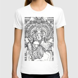 Genish black and white line drawing T-shirt
