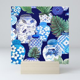 Chinoiserie Blue and white Chinese Ginger Jars and Foo dogs with palm and calathea Mini Art Print